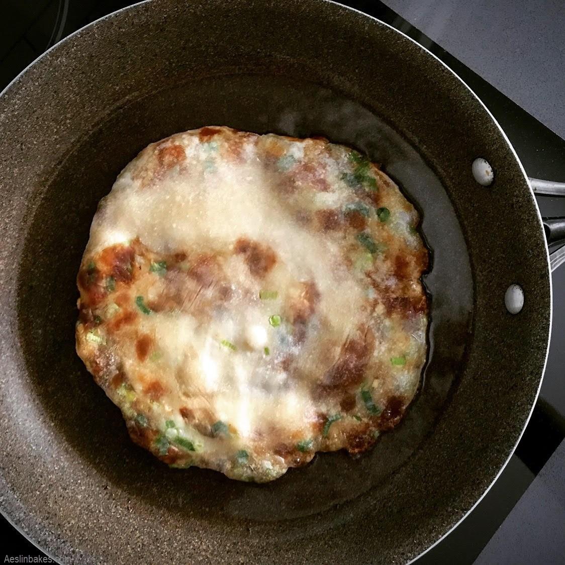 scallion pancake cooking