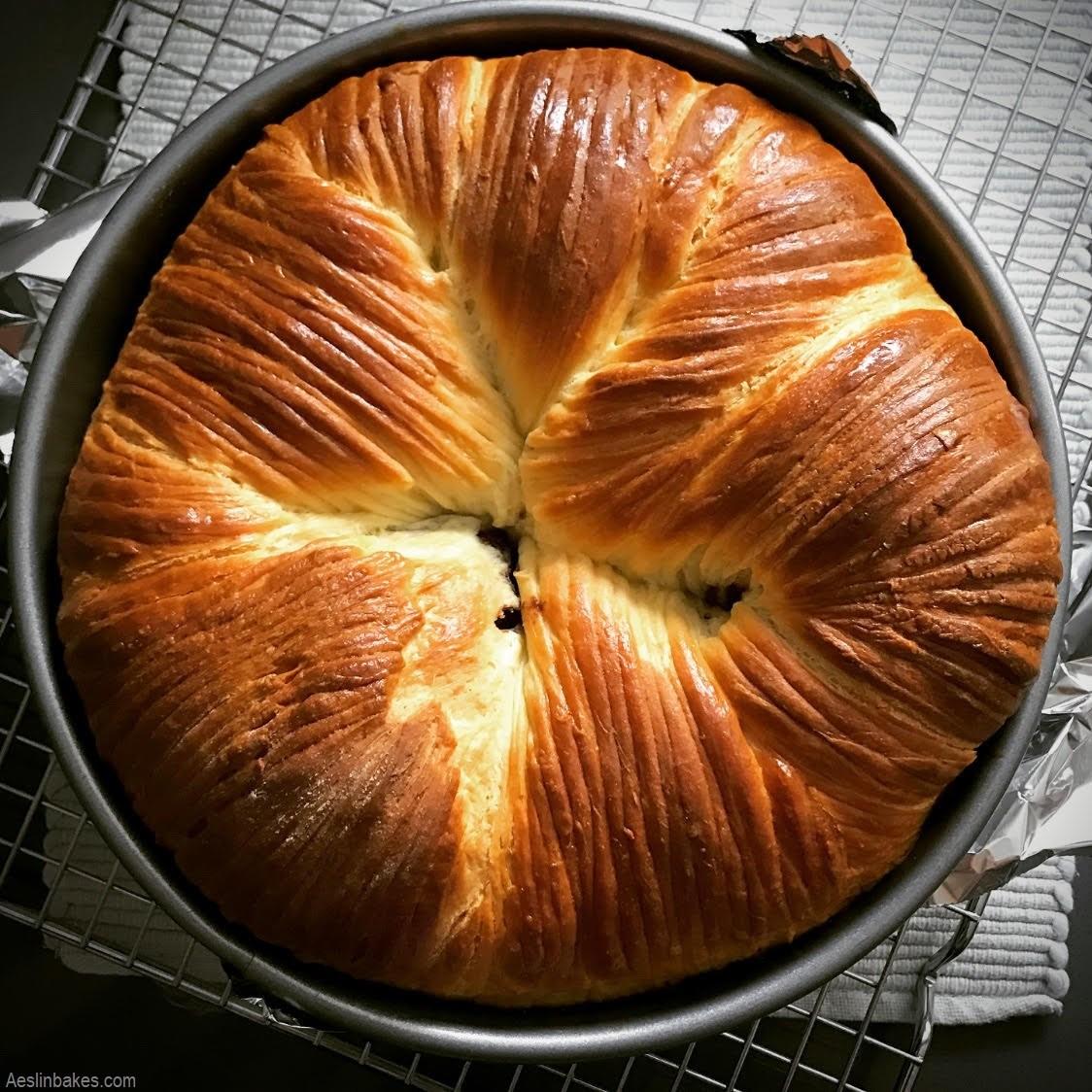baked brioche wool roll loaf in pan top