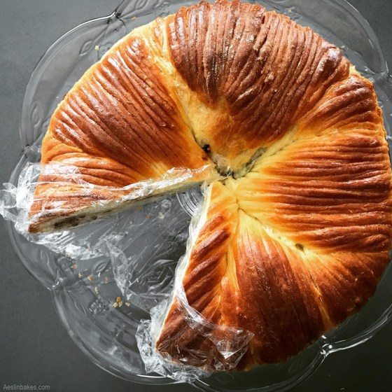 brioche wool roll loaf with plastic wrap top
