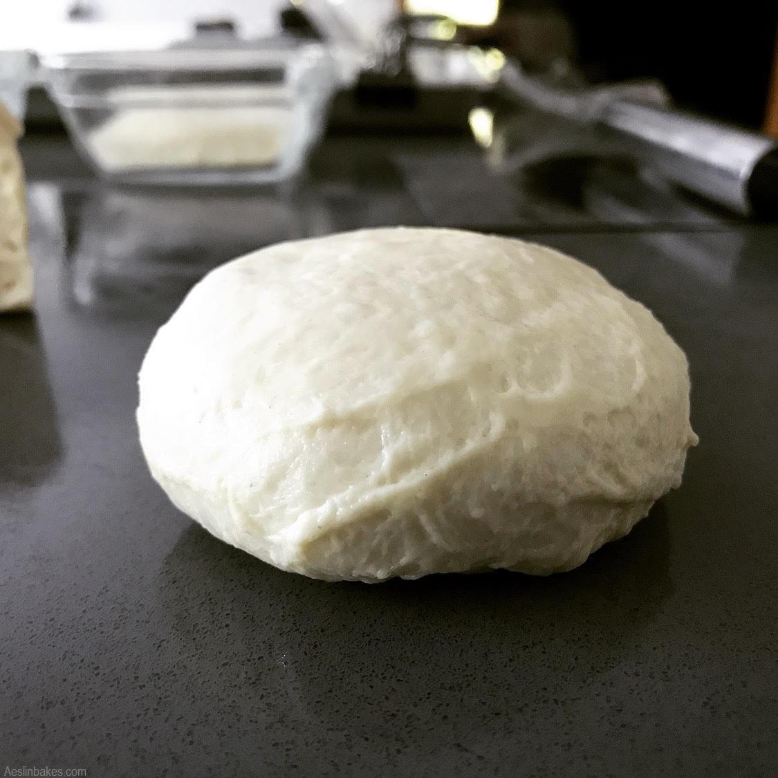 hamburger buns dough flattened