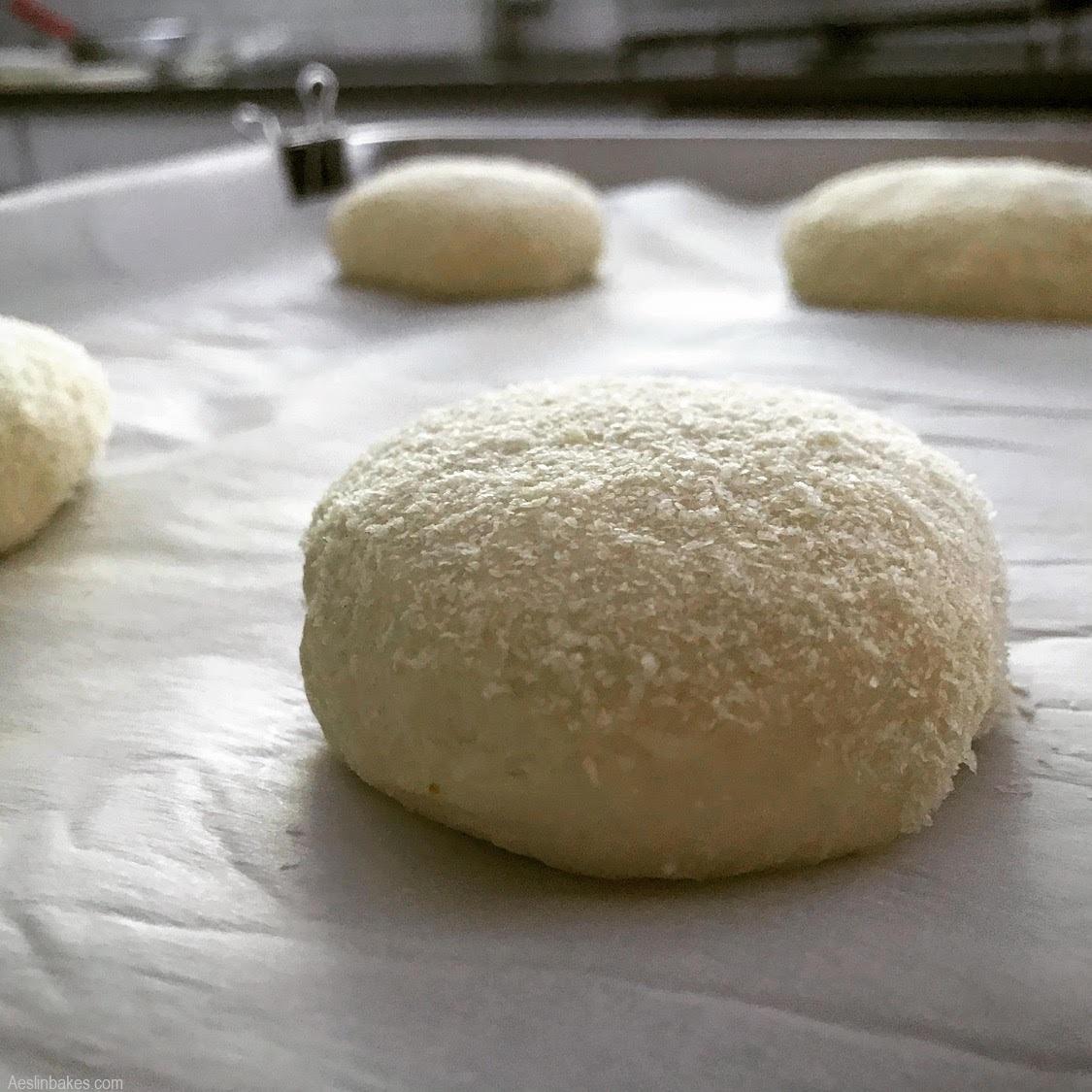 hamburger buns flattened
