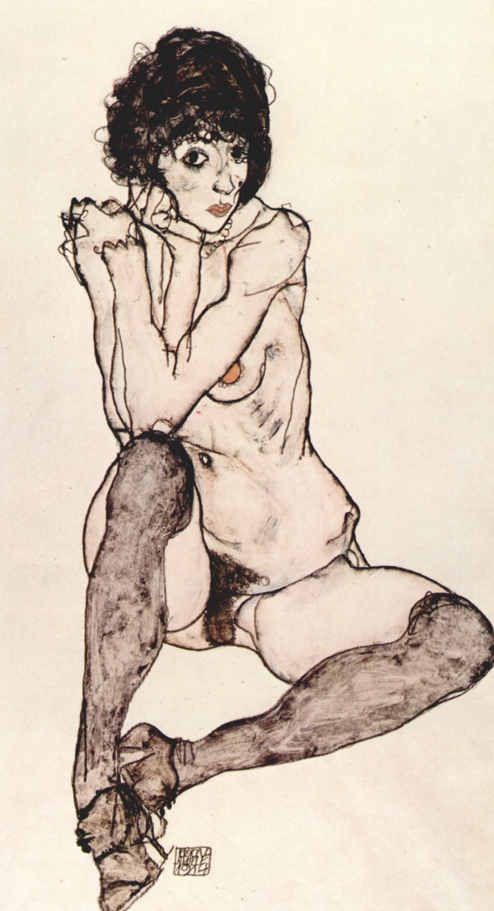 """""""Sitzender weiblicher Akt"""" (1914) de Egon Schiele"""