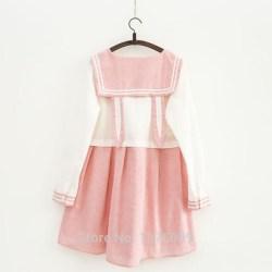 pastel pink dress cute cat kawaii sailor ear clothing dresses skirts aesthetic bear