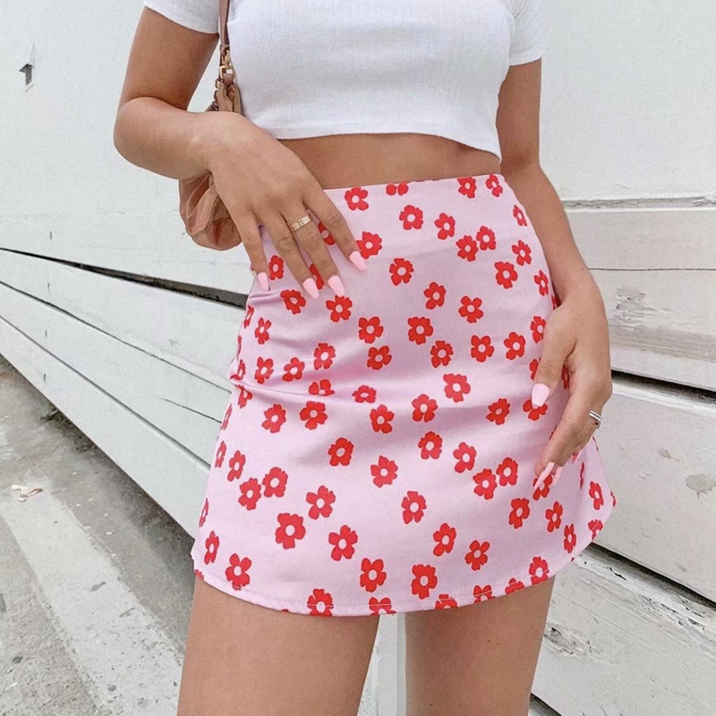 kawaii Mini skirt elegant floral