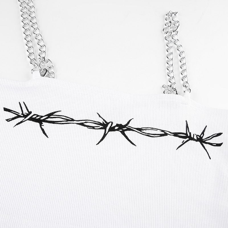 Crop top Metal Chain Floral Print
