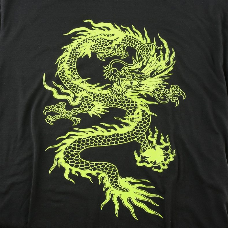 Neon Green Dragon Print Oversized Tee