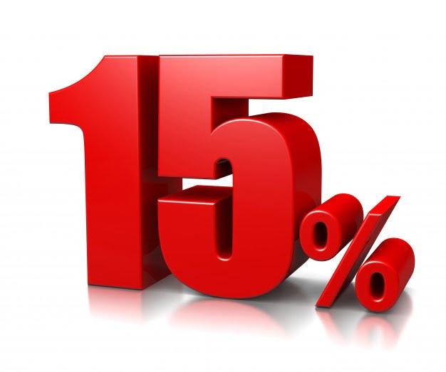 15% de desconto
