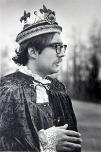 King Jehan de la Marche, wearing the ancient crown of the East. The crown had a Velcro attachment so it could be resized for each wearer.