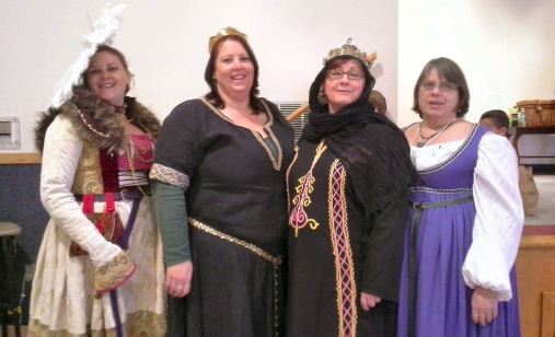 Baroness Ellesbeth Donofrey and Duchess Christence, who organized the Travel Fund auction. Photo by Mistress Arianna of Wynthrope.