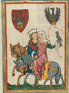 Woman shown riding astride in the depiction of Herr Wernher von Teufen (fol. 69r) from the Manesse Codex, c. 1300-1330.