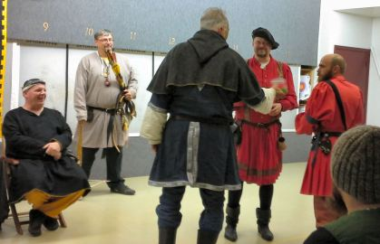 Maestro Jacopo and Lord Magnus, winners of the archery/fencing woods walk.
