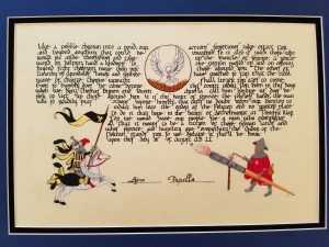 Scroll calligraphed by Lord Angelino the Bookmaker, illumination by Lady Elektra of Sylvan Glen