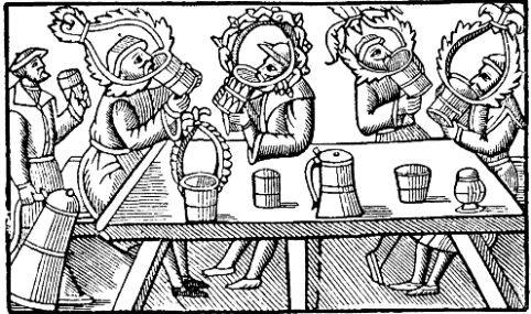 """""""Dryckeslag, Nordisk familjebok"""" from Historia de gentibus septentrionalibus or History of the Northern People, by Olaus Magnus, printed in Rome 1555."""