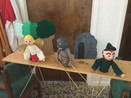 """Clear view of Pegboard Puppets set up for """"The Magic Mushrooms"""""""