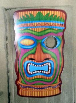 Tiki mask eye cutout