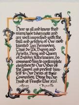 Scroll by Duchess Líadain ní Dheirdre Chaomhánaigh