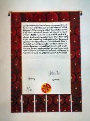 Abigail's Fleur scroll by Mistress Gillian Llwelyn. Photo by Jinx.