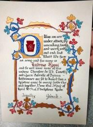 Lord Andreas' Keystone scroll.