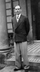 Our Master outside his apartment in Maida Vale where The Command was received in 1954