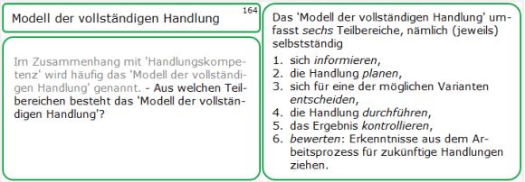 Lernkarte zum Modell der vollständigen Handlung - mit Antwort