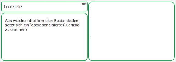 Lernkarten-Vorderseite zu Lernzielen
