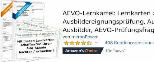 Produktbild bei Amazon mit Bewertungssternen für die AEVO-Lernkartei