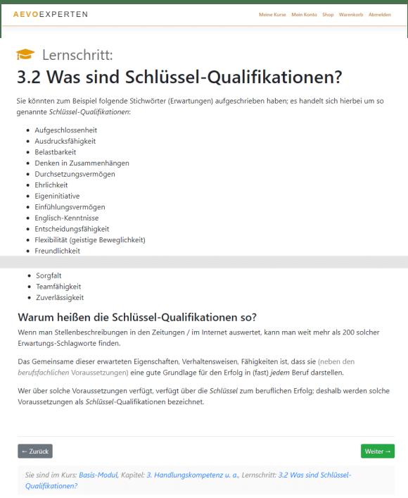 Screenshot von Lernschritt 3.2