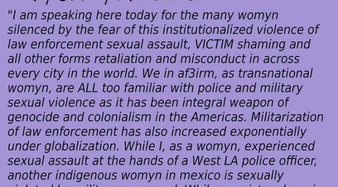 AF3IRM San Diego's Statement Against State Sanctioned Sexual Assault