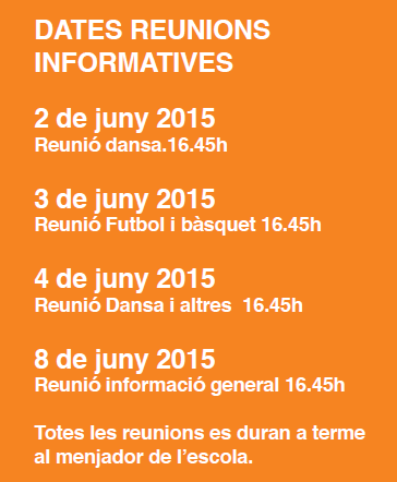DATES Reunions informatives