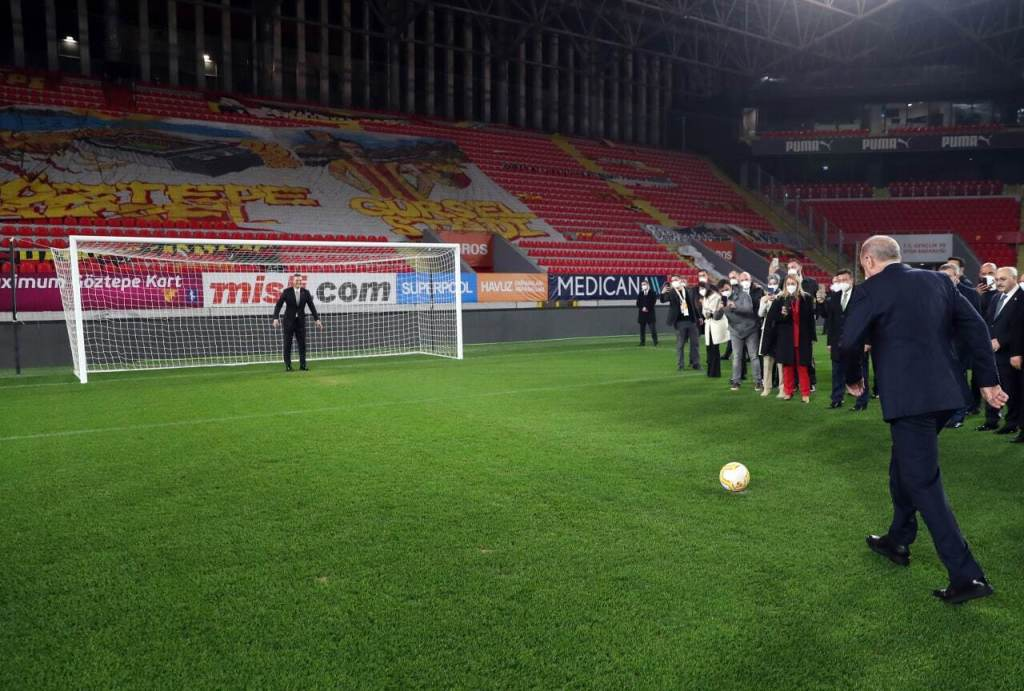 Watch ... Erdogan takes a penalty with