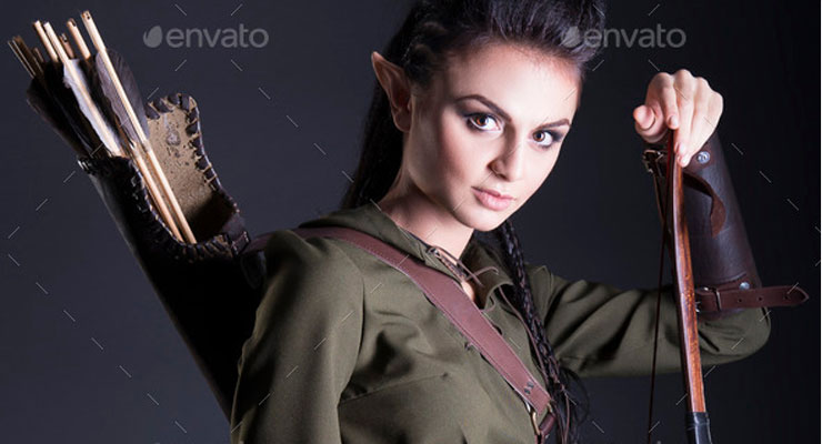 beautiful elf with bow in hand