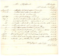 Mrs Oliphant, Kirkcaldy. To Richard Smith. £sd. 1842. Jan[uar]y 27th - 1 [...] [pad] lock [repaired] & new key - £0/1/2. March 11th - 1 Hock lock [repaired] new key & [..] - £0/1/4. 1 new [...] & [...] 2/3 - £0/2/3. [...] [...]. (total) £1/0/10. 1843 January 3rd, Rec[eived] Pay[ment] - Rich Smith