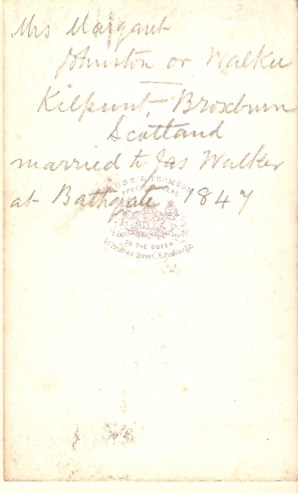 Back of Photo of Margaret JOHNSTON, noting her marriage at Bathgate in 1847.