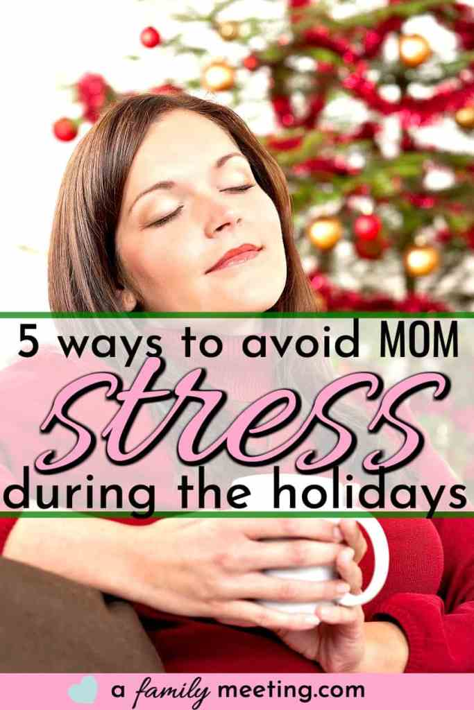 mom relaxing with a cup of coffee while managing mom stress during the holidays