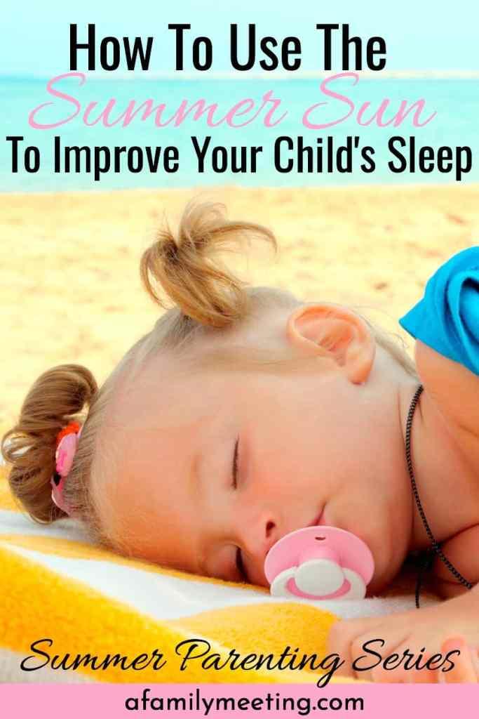 little girl using the summer sun to improve child's sleep by sleeping on the beach in the sunshine