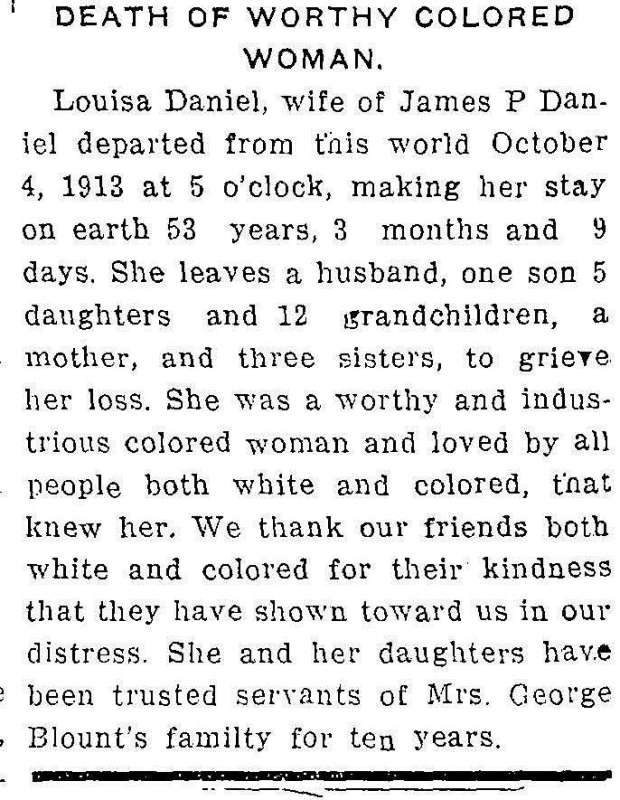 WDT 10 7 1913 Louisa P Daniel death