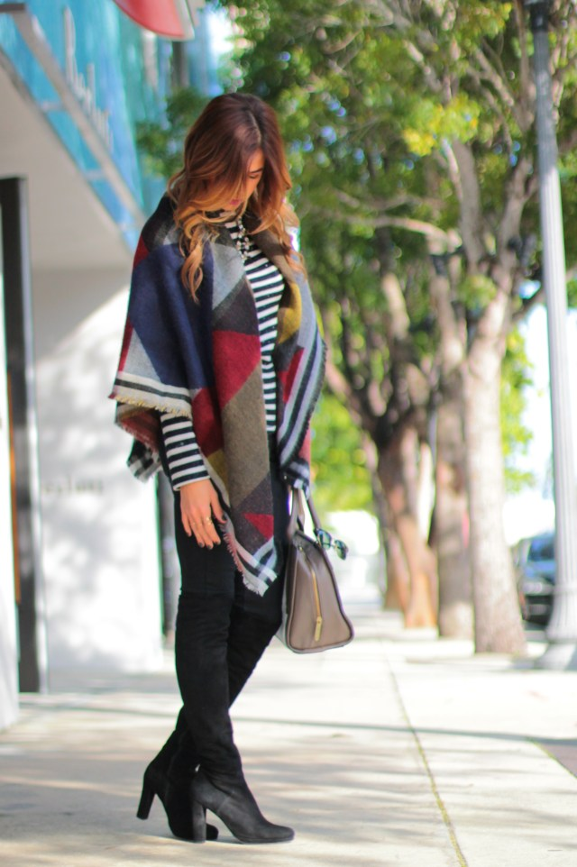 amanda tur, a fancy affair, zara blanket scarf, a fancy affair blog, fashion blogger, miami blogger, miami bloggers, oak boots, over the knee boots, mac heroine lipstick