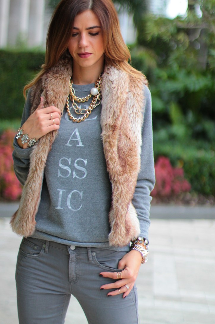Miami fashion blogger, a fancy affair blog, miami blogger, amanda tur, monochromatic look, nudes, miami fashion blogger, all grey, 50 shades of grey, faux fur vest, brown and grey, classic sweatshirt, classic sweater, pearls, gold chain necklace, kiley jenner lips, sincerely jewels, ily classic sweater