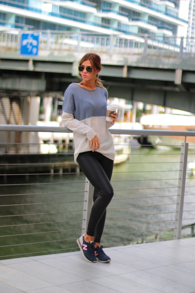 amanda tur, miami fashion blogger, fashion bloggers, miami, leggings, new balance, sporty chic, a fancy affair, a fancy affair blog, mulch watches, spring, summer trends, trending, trends, layered necklace, how to wear new balance, ray bans, ray ban, ray bans classic, too faced melted, pink lipstick