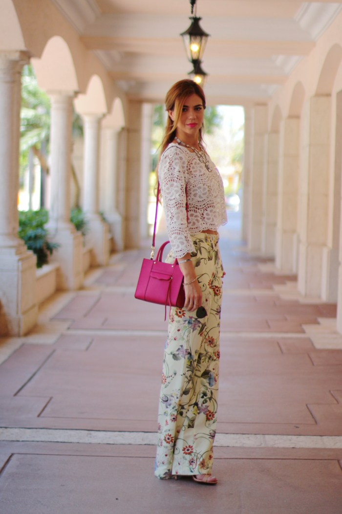 a fancy affair miami blogger fashion blogger amanda tur is wearing zara floral print wide leg pants with pink rebecca mink off bag and crotchet top from miami style mafia via velveteur