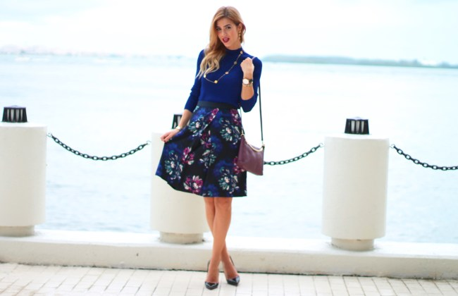 amanda tur miami fashion and lifetsyle blogger wearing ellen tracy floral skirt and top paired with henri bendel burgundy rivington chain crossbody bag with the chirstian louboutin so kate black pumps for fall in miami fall styles fall looks a fancy affair blog daniela millan designs