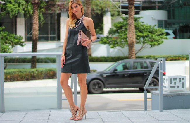 leith black faux leather dress paired blush gucci cluth nolita pearl layered necklace from henri bendel steve madden silthur blush sandals daniel wellington leather strap watch kendra scott bracelet worn during fall style by amanda tur miami fashion and lifetsyle blogger