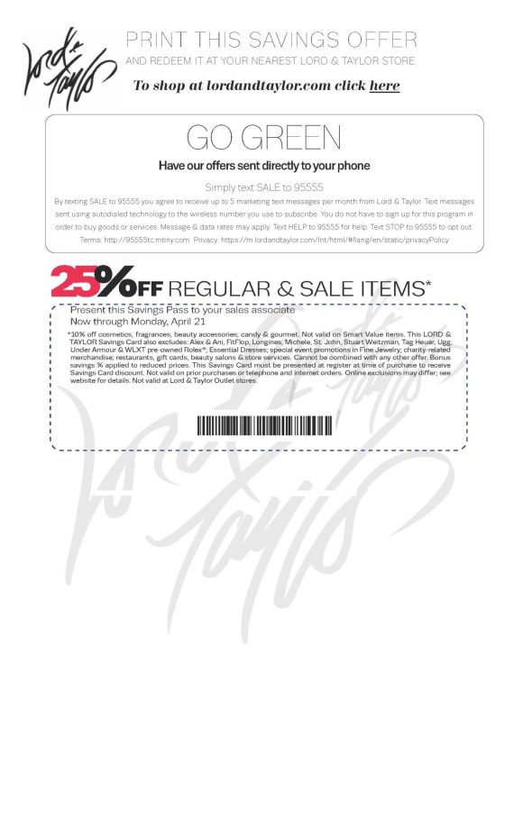 Lord & Taylor Savings Pass