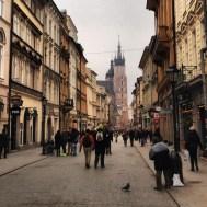 Street leading to St. Mary's Church in Rynek Glowny (Market Square)