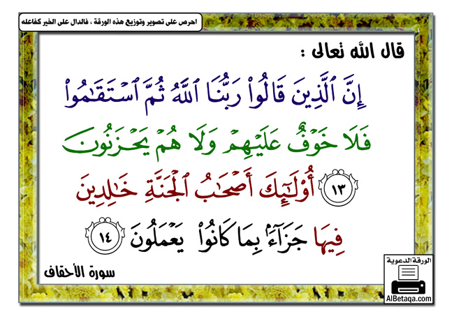 إن الذين قالوا ربنا الله ثم استقاموا فلا خوف عليهم ولاهم