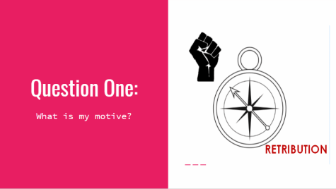 """Question One: What is my motive? Compass directed away from """"retribution"""" and toward """"solidarity fist."""""""
