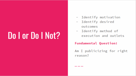 Do I or Do I Not? Identify motivation, identify desired outcomes, identify method of execution and outlets. Fundamental Question:Am I publicizing for right reason?
