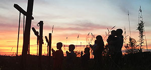 Silhouette of Family Praying