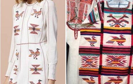 En el lado izquierdo el vestido de Intropia y en el derecho un estampado oaxaqueño