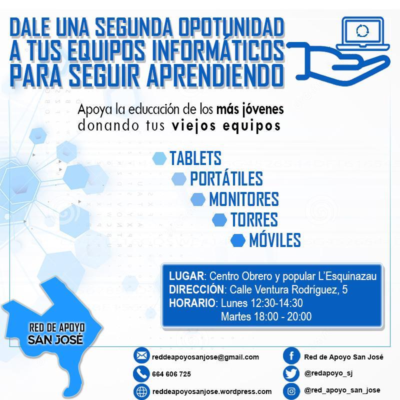 Cartel de donaciones de equipo informático en el barrio de San José